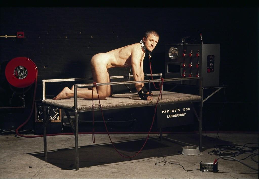 'Pavlov's Dog', performance by Oleg Kulik during Manifesta 1, 1996, courtesy of the artist