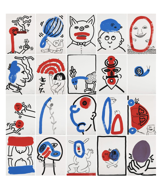 Keith Haring, 'The Story of Red Blue', 1989, Print, Boxed set of 20 stone signed 2-3 color lithographs, Rosenfeld Gallery LLC