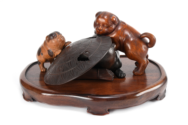NON NAME, 'Wood Carving Young Dog Ornament  19 1049', ca. 1880~, Sculpture, Wood, Yumekoubou Antique
