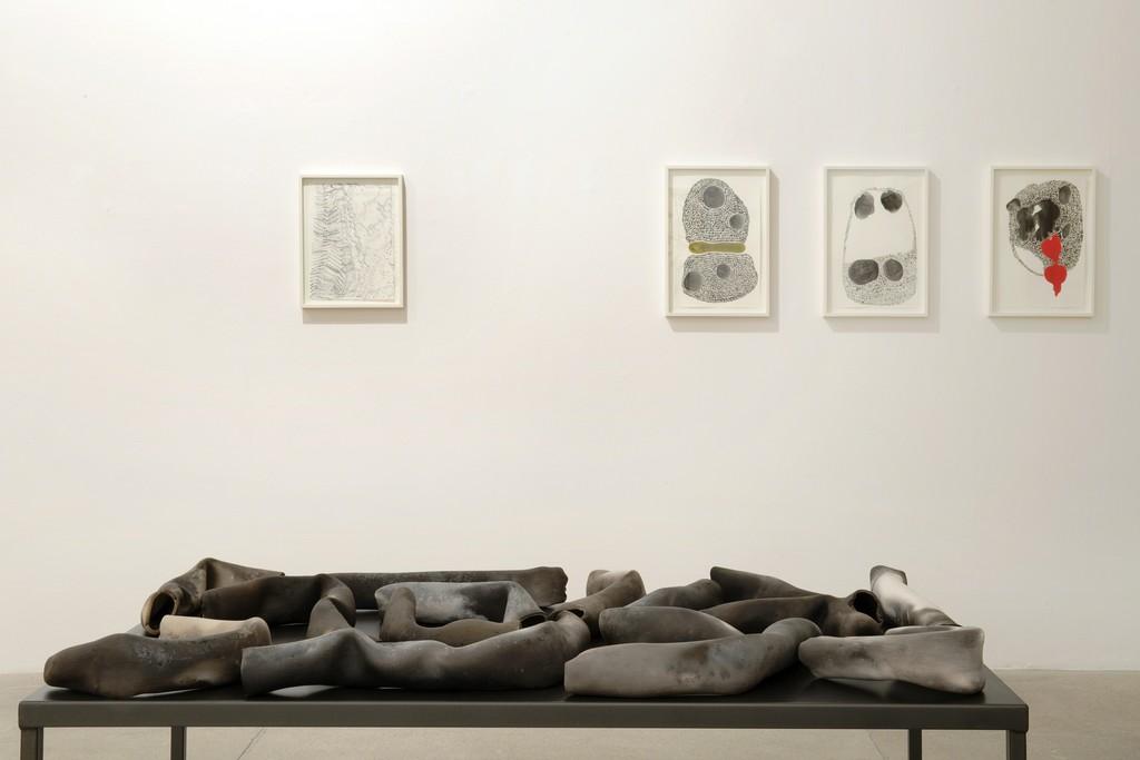 Installation view: Anna Maria Maiolino's exhibition, 2015 via A. Stradella 7, Milano
