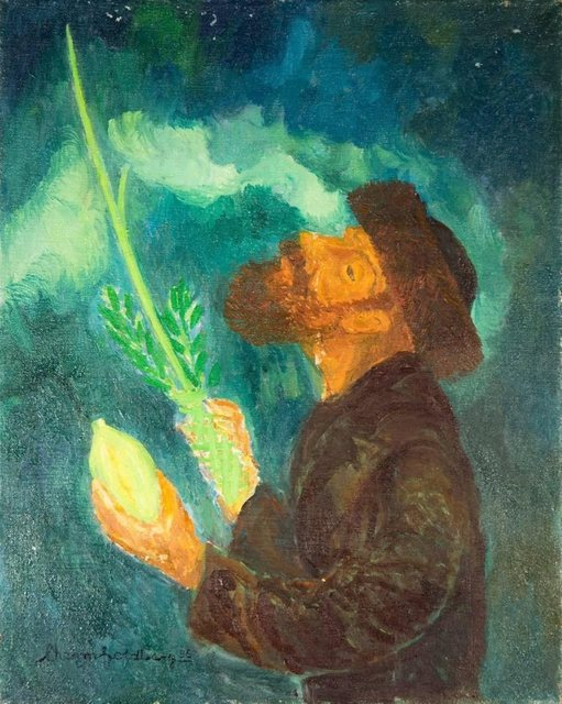 Chaim Goldberg, 'Blessing From Above, Judaica Oil Painting, Rabbi with Lulav and Esrog', 1985, Lions Gallery