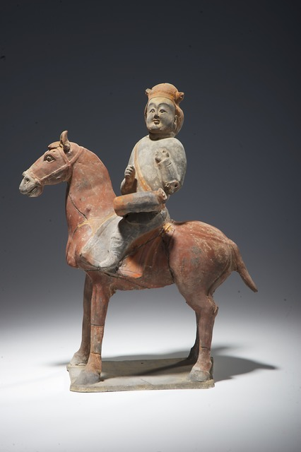 , 'Mounted drummer figurine,' 550-577, China Institute Gallery