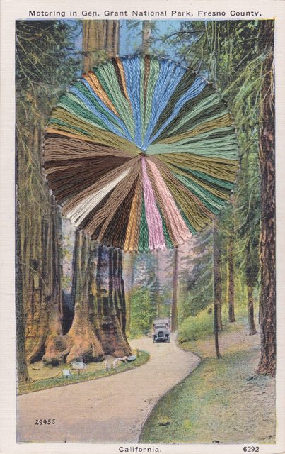 """, '""""Motoring"""" - Vintage Postcard from General Grant National Forest in Fresno , California with Embroidery,' 2019, Gallery 1202"""