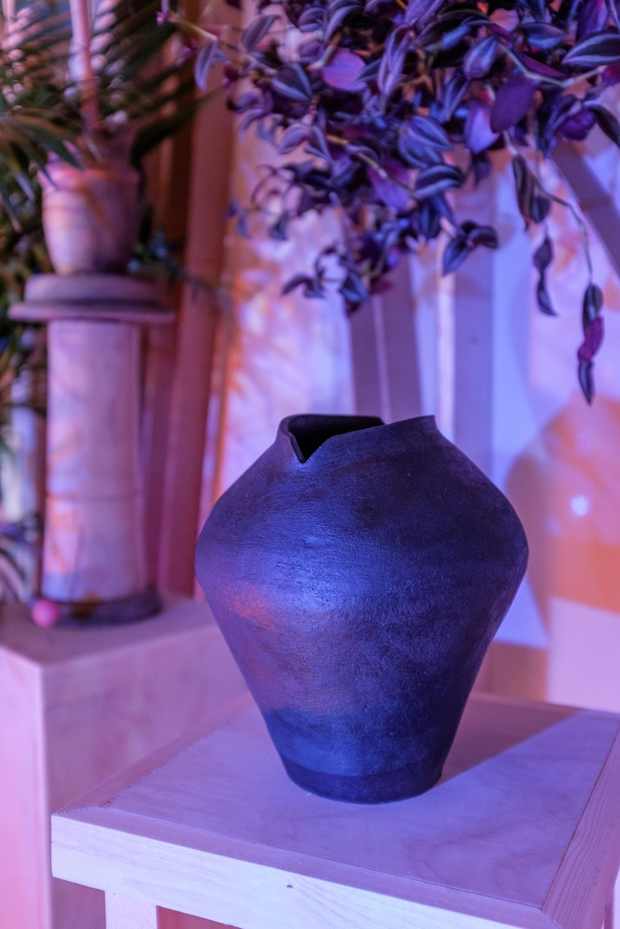 Fertility by Erin Morrison, 2015, oil on ceramic. One of four coil-formed vessels by Morrison included in the installation.