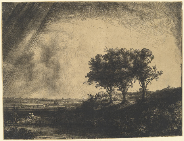 Rembrandt van Rijn, 'The Three Trees', 1643, Print, Etching, with drypoint and burin, on japan paper, National Gallery of Art, Washington, D.C.