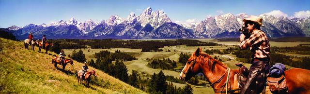 , 'Colorama 245, Cowboys in Grand Tetons, Wyoming,' Displayed 10/5/64–10/26/64, George Eastman Museum