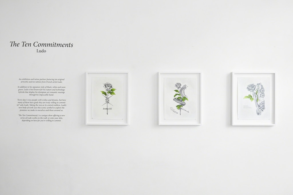 Ludo, 'The Ten Commitments' installation view at The Garage, Amsterdam. From left, 'Exodus', 'Wisdom' & 'Peacekeeper'.