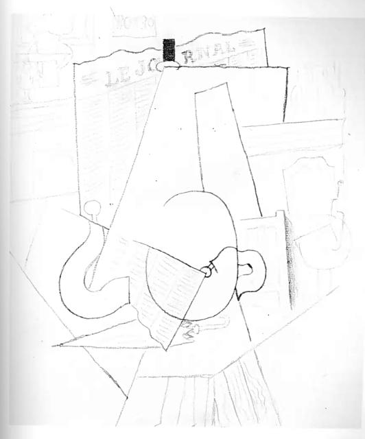, 'Homme au Parapluie assis à une Table à l'Intérieur d'un Café,' 1914, John Szoke