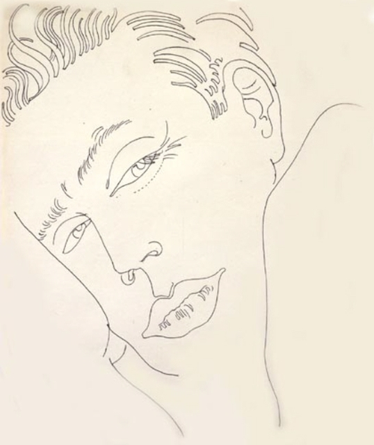 Andy Warhol, 'Unidentified Male', ca. 1959, Drawing, Collage or other Work on Paper, Ballpoint pen on paper, David Nolan Gallery