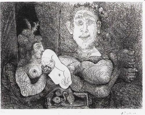 Pablo Picasso, 'Les Coulisses du Tableau. Odalisque et Peintre from L Série 156', 1970, Mixed Media, Etching, drypoint and scraper on Rives BFK paper with the artist's stamped-signature, LaMantia Fine Art Inc.