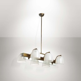 A brass pendant lamp with glass diffuser elements