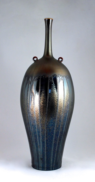 Hideaki Miyamura, 'Vase with Two Rings, Gold and Starry Night Glaze', 2018, Michele Beiny Inc.