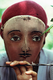 Traditional Indian dance mask from the town of Monimbo, adopted by the rebels during the fight against Somoza to conceal identity, Monimbo, Nicaragua, 1978