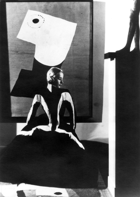 , 'Art in Fashion: Model in Balenciaga in front of painting by Miro, photographed in Helena Rubenstein's Paris Home,' 1939, Staley-Wise Gallery