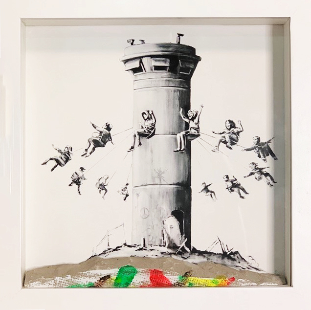 Banksy, 'Walled Off Hotel Box Set', 2017, Mixed Media, Art print housed in a locally sourced frame from Bethlehem with a chunk of concrete, Lougher Contemporary Gallery Auction