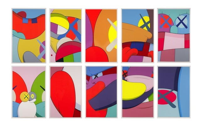KAWS, 'NO REPLY (full portfolio)', 2015, Print, Screenprint on wove paper, ten full sheets and original blue fabric-covered portfolio, Vernissage Art Advisory