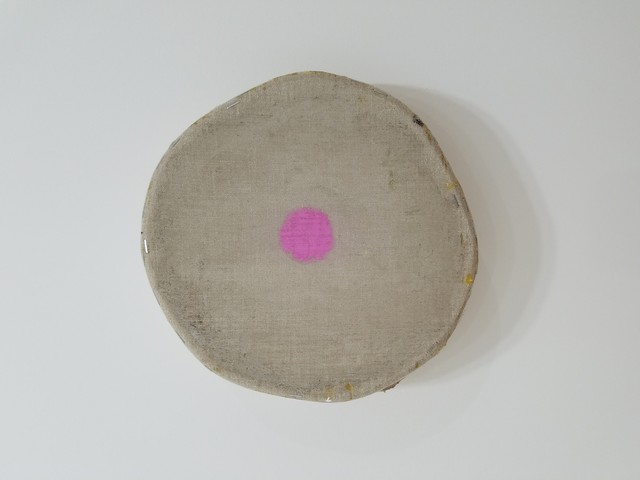 , 'Gray with One Magenta Circle,' 2018, Marc Straus