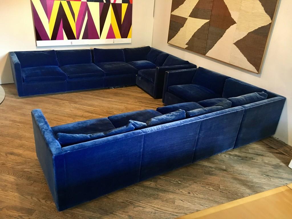 Charles Pfister, U0027Blue Velvet Sectional Sofa For Knollu0027, Ca. 1970,