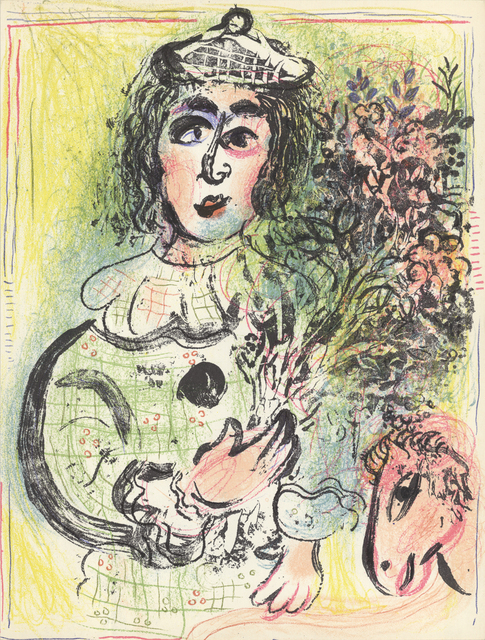 Marc Chagall, 'Clown with Flowers', 1963, Print, Color Lithograph, ArtWise