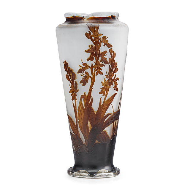 "Galle, 'Tall vase with crocosmia orchid under a scalloped rim, silver base etched ""Je vous aime,"" France', Rago"