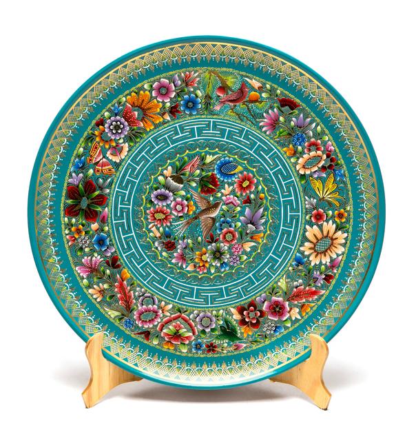 Agustín Jorge Martínez Ramírez, 'Plato Azul-Verde Perfilado en Oro Woodcarving Lacquer Mexican Folk Art', 2017, Cactus Fine Art