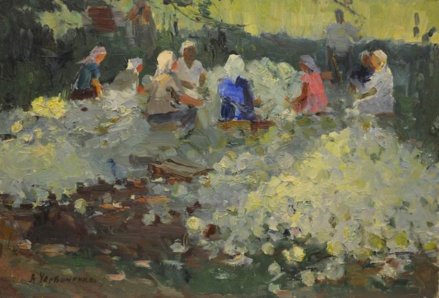Nadezhda Eliseevna Chernikova, 'Cutting cabbages', 1958, Surikov Foundation