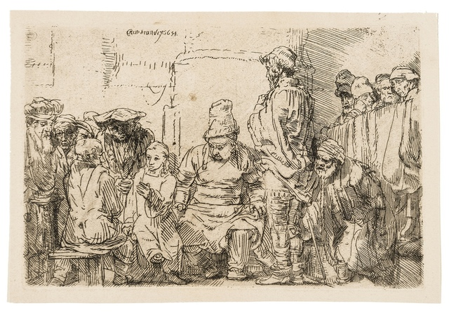 Rembrandt van Rijn, 'Christ Disputing with the Doctors: A Sketch', 1652, Print, Etching and drypoint, Forum Auctions