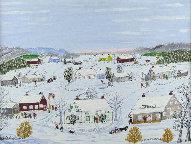Forrest K. Moses, 'Winter Village', ca. 1960, Painting, Oil on Board, Janus Galleries