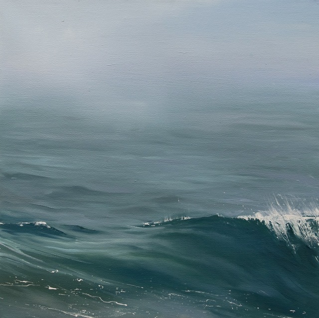 ", '""Gentle Roll"" oil painting of a wave in calm deep blue green ocean water,' 2010-2017, Eisenhauer Gallery"