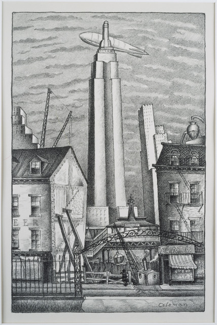 Glenn O. Coleman, 'Dirigible Over New York', date unknown, Phillips Collection