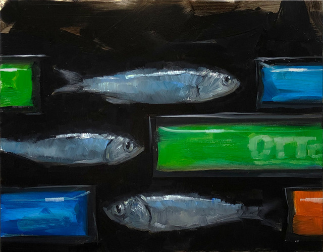 Tom Giesler, 'Freezer Pops: otter and anchovies', 2019, Painting, Oil on panel, McVarish Gallery