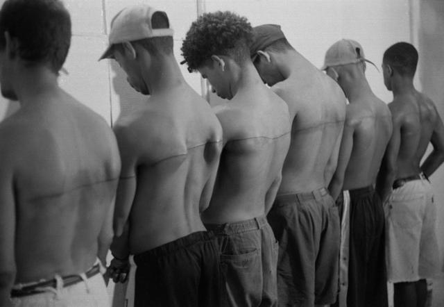 , 'Linea de 250 cm tatuada sobre 6 personas remuneradas ,' 1999, Prometeogallery