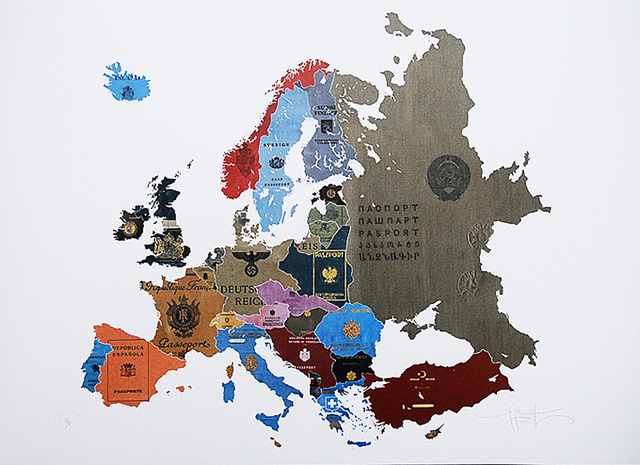 , '1930's Historical Passport Map Europe ,' 2016, London Contemporary Art / Store Street Gallery
