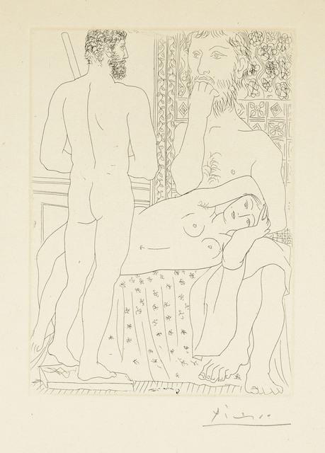 Pablo Picasso, 'Sculpteur, modèle couché et sculpture, from: La Suite Vollard', 1933, Print, Etching on Montval laid paper, Christie's