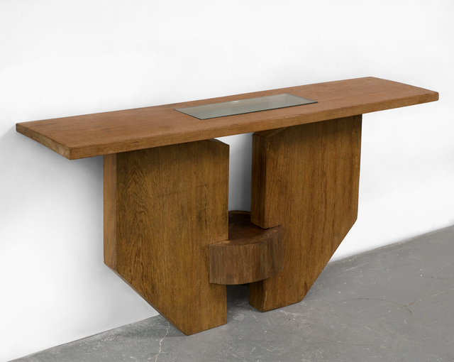 , 'Console in solid Brazilian hardwood with inset glass,' 1970s, R & Company