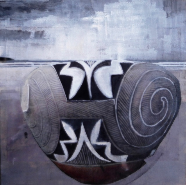 Christina Penrose, '#2 acoma pottery/#2 american indian series', 2018, Painting, Gouach on canvas, InLiquid