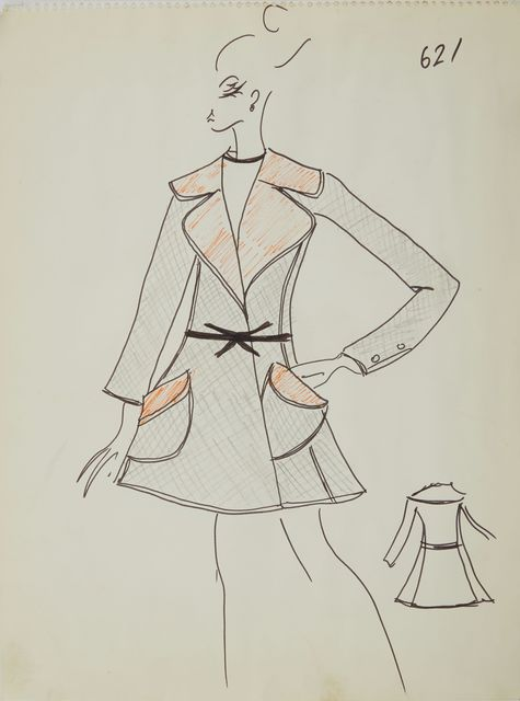 Karl Lagerfeld, 'Karl Lagerfeld Original Fashion Sketch Ink Drawing with marker 621 Contemporary', ca. 1963-1969, Drawing, Collage or other Work on Paper, Mixed Media: ink pen and marker on paper, Modern Artifact