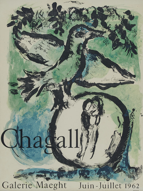 Marc Chagall, 'L'Oiseau Vert (The Green Bird), 1962 (Poster: Chagall Galerie Maeght Juin-Juillet 1962)', Print, Colour lithographic poster mounted on lightweight cardboard, Waddington's