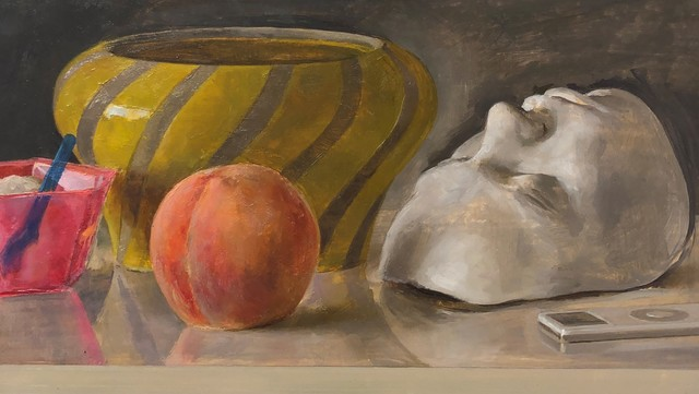 Andrew S. Conklin, 'Still Life with Italian Bowl, Life Mask, Peach and iPod', 2020, Painting, Oil on panel, Gallery Victor Armendariz