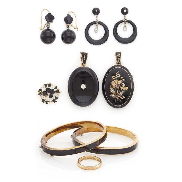 'Group of Antique 'Memento Mori' Silver, Low Karat Gold, Metal, Black Enamel and Black Onyx Mourning Jewelry', Doyle