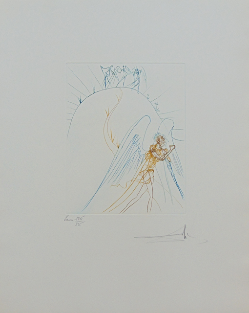 Salvador Dalí, 'The Flight of Satan, from: The Earthly Paradise | La Fuite de Satan, from: Le Paradis Terrestre', 1974, Print, Original Hand Signed and Numbered Drypoint in Colours on Lana Wove Paper, Gilden's Art Gallery