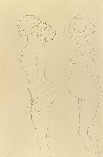 , 'Standing Nude and Pregnant Woman Facing Left,' 1906-1907, Galerie Bei Der Albertina Zetter