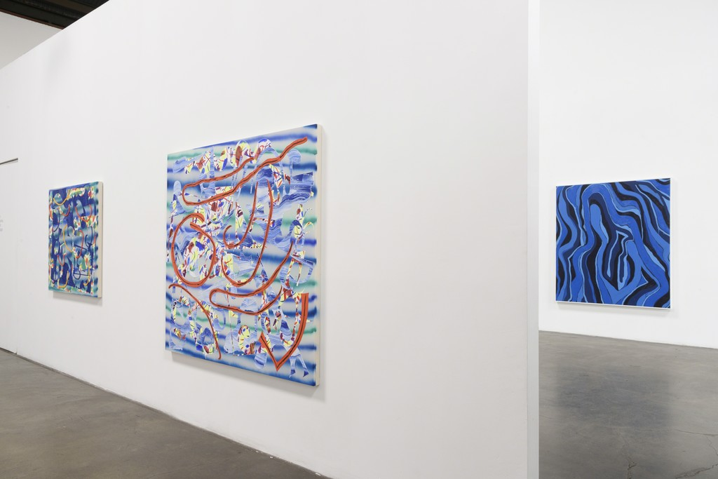 Installation View:  Group Show, featuring Trudy Benson, Farshad Farzankia, Benjamin Klein, and Jean Isamu Nagai at Richard Heller Gallery. Exhibition Dates: January 6 - February 10, 2018.   This image: Work by Trudy Benson (with work by Russell Tyler in East Gallery).