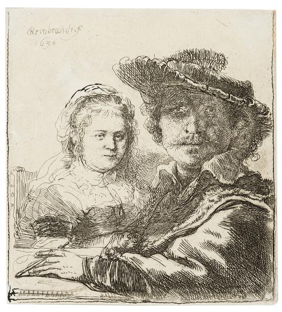 Rembrandt van Rijn, 'Self Portrait with Saskia', 1636, Print, Etching, Forum Auctions