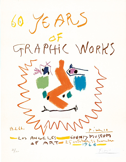 Pablo Picasso, '60 Years of Graphic Works', 1966, Print, Color Lithograph, Masterworks Fine Art