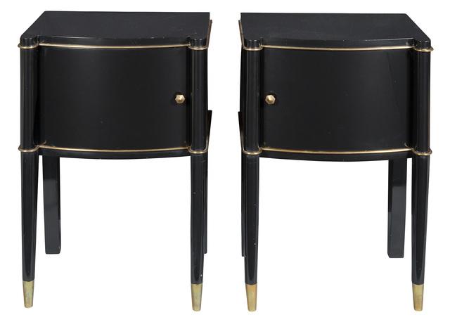 'Pair of De Coene Frères Art Deco Parcel Gilt Black Lacquered Bedside Cabinets', 1940s, Doyle