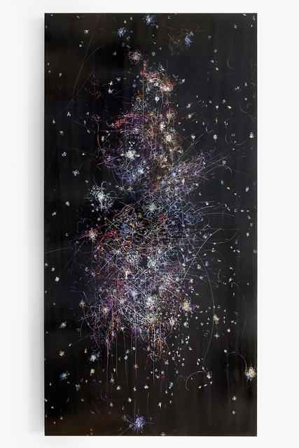 , 'blow up 283 - the long goodbye - (history of gold) - subatomic decay patters and the Orion Nebula with neutron star,' 2016, Von Lintel Gallery