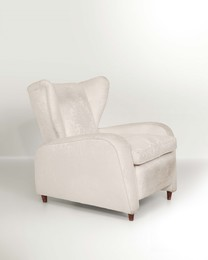 an armchair with a wooden structure and fabric upholstery
