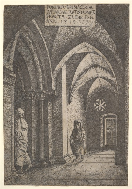 Albrecht Altdorfer, 'The Entrance Hall of the Regensburg Synagogue', 1519, The Metropolitan Museum of Art