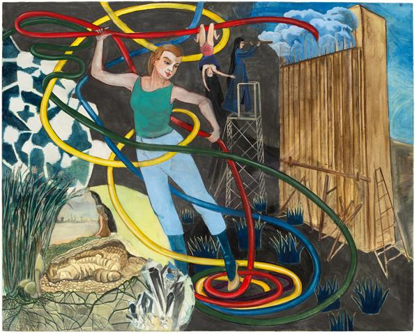 Rosa Loy, Zeitschleife, 2015, Kasein auf Leinwand, 120x150cm, courtesy Galerie Kleindienst, Leipzig; Kohn Gallery, Los Angeles; Galerie Baton, Seoul. Foto: Uwe Walter, Berlin